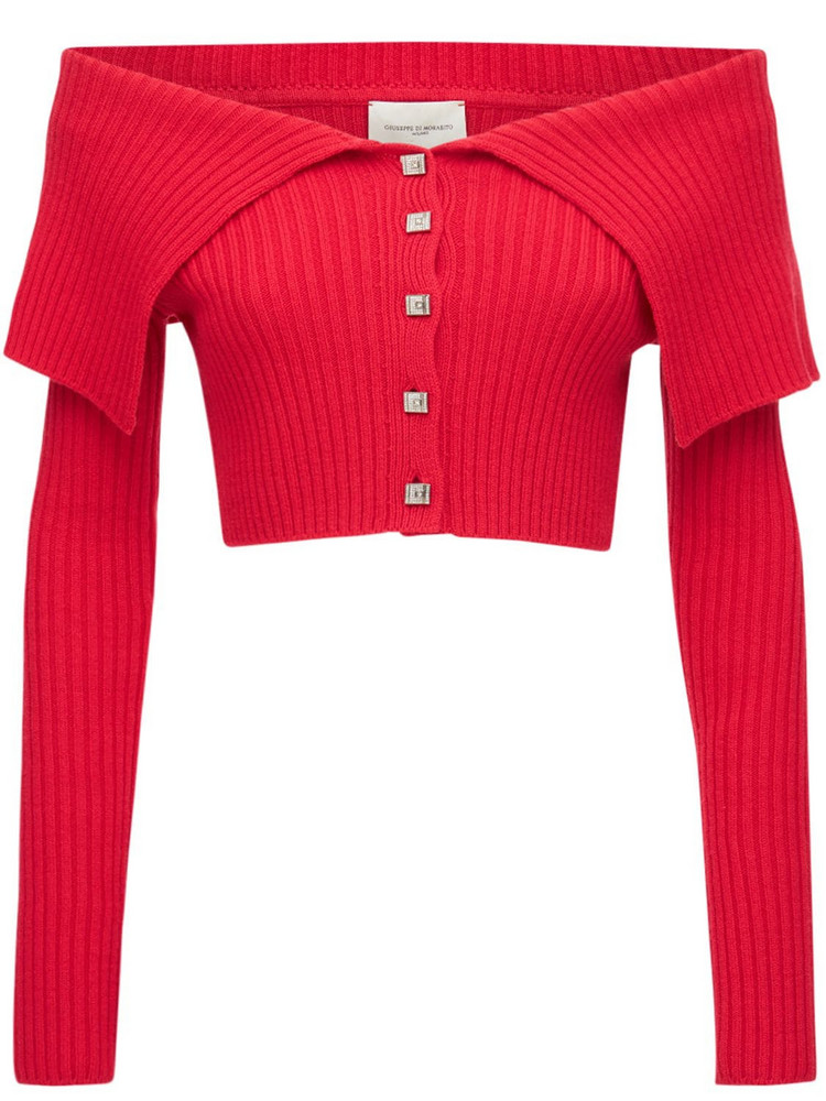 GIUSEPPE DI MORABITO Off-the-shoulder Wool Blend Knit Top in red