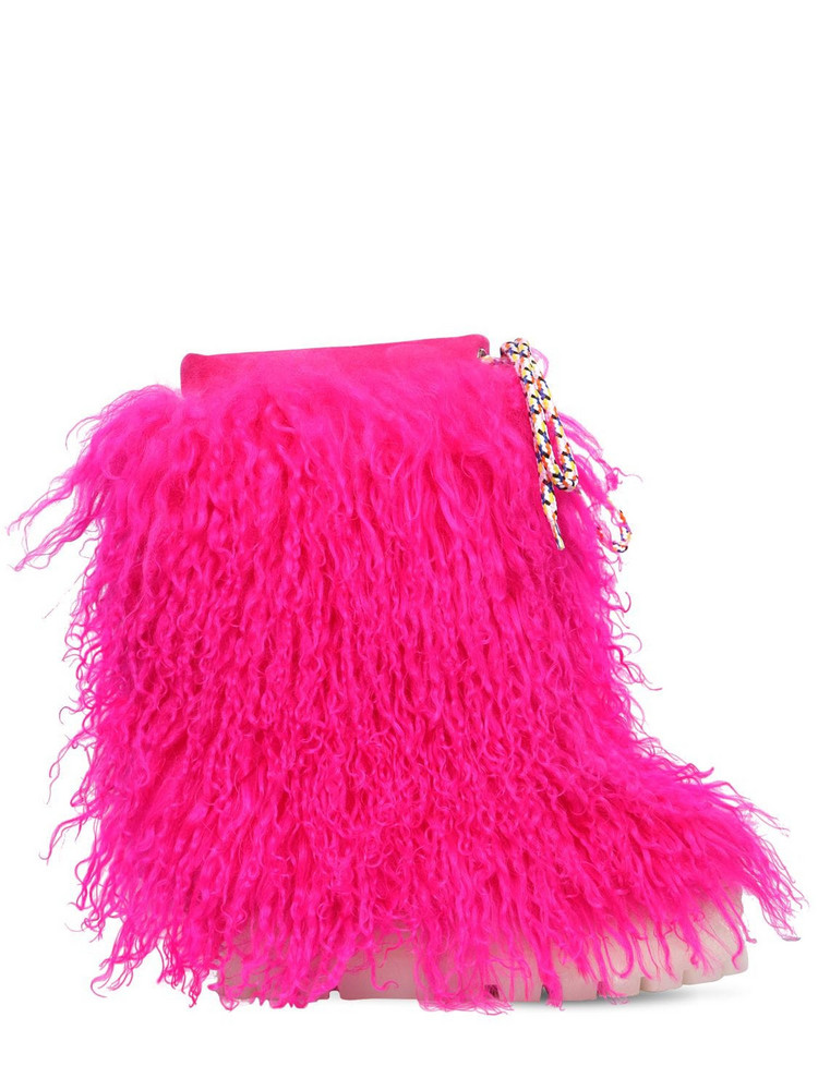 CASADEI 110mm Suede & Fur Ankle Boots in fuchsia