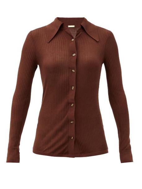 Dodo Bar Or - Paya Rib-knitted Silk Shirt - Womens - Dark Brown