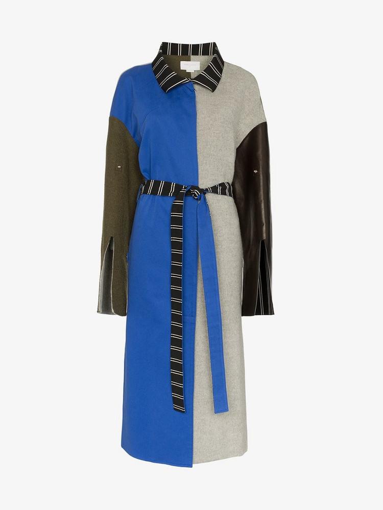 Esteban Cortazar patchwork wool trench coat in grey