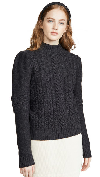 Generation Love Isabella Cable Knit Sweater in charcoal