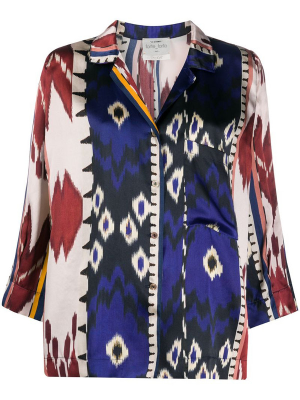 Forte Forte abstract-pattern silk shirt in blue