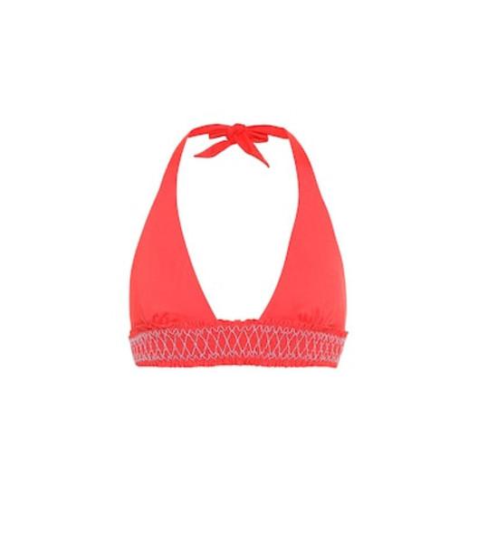 Heidi Klein Sophia smocked bikini top in red