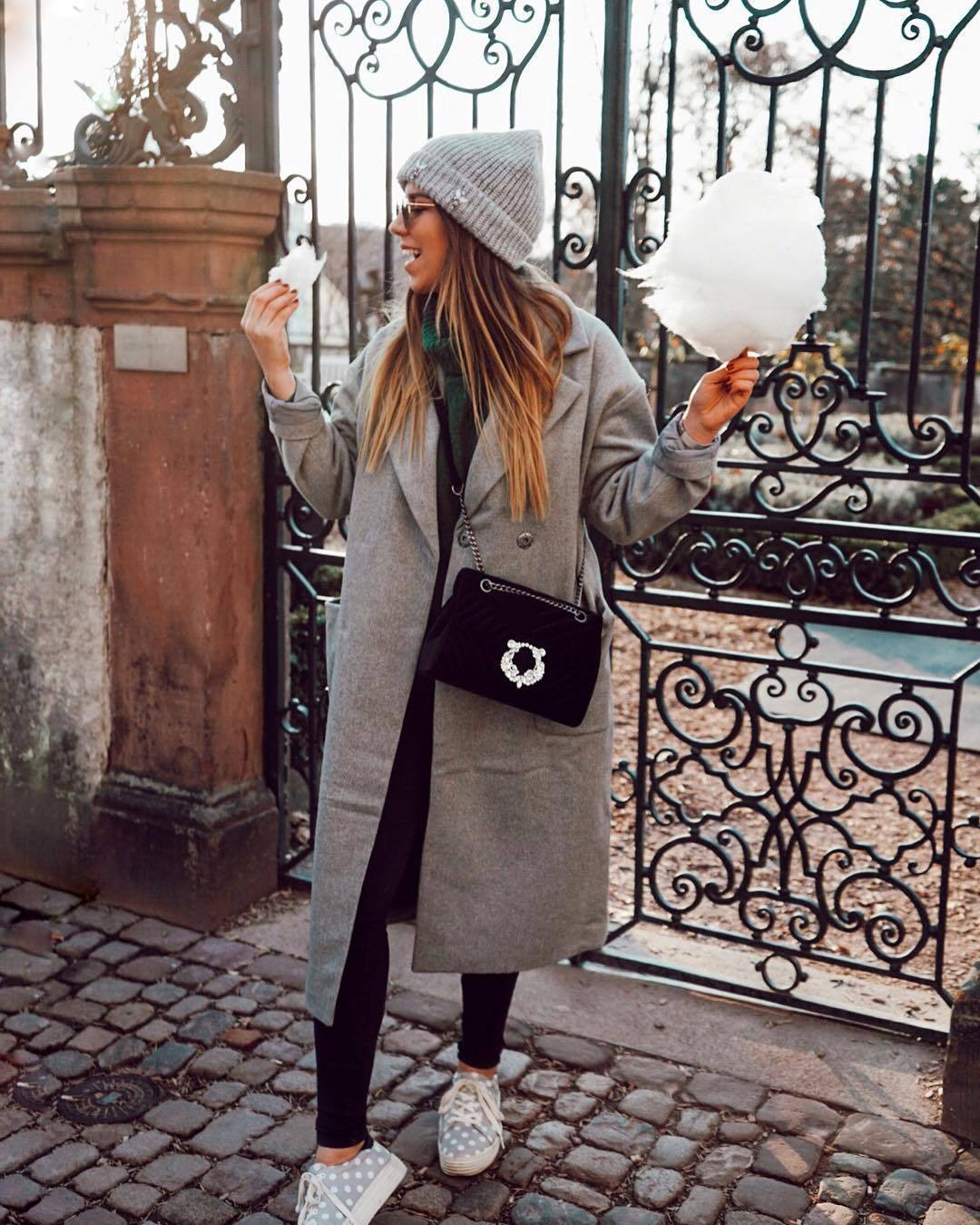 bag crossbody bag velvet sneakers black leggings grey coat long coat turtleneck sweater knitted sweater grey beanie