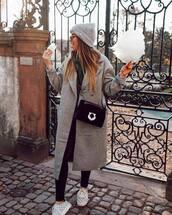 bag,crossbody bag,velvet,sneakers,black leggings,grey coat,long coat,turtleneck sweater,knitted sweater,grey beanie