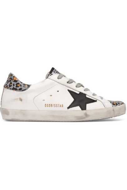 Golden Goose - Superstar Distressed Glittered Leopard-print Leather Sneakers - White