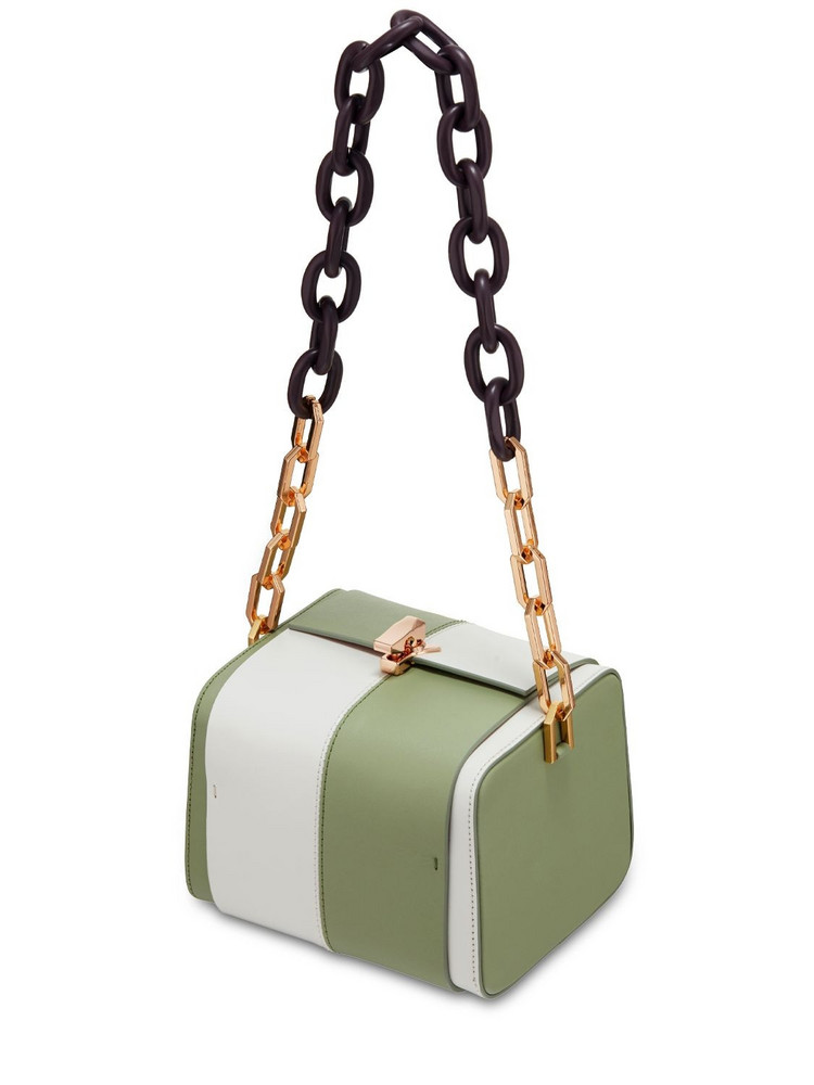 THE VOLON Po Cube Two Tone Leather Bag in ivory