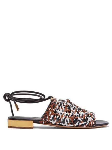 Salvatore Ferragamo - Laino Woven Leather Sandals - Womens - White Multi