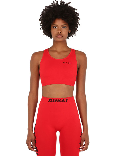 UNRAVEL Stretch Techno Jersey Crop Top in red