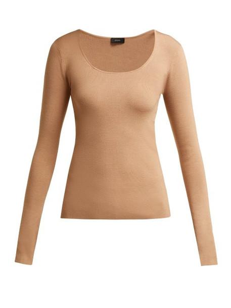 Joseph - Scoop Neck Silk Blend Sweater - Womens - Camel