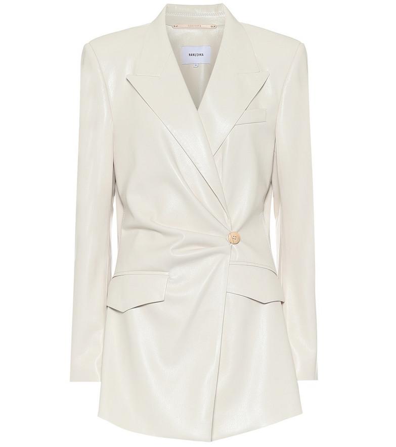 Nanushka Blair faux-leather blazer in white