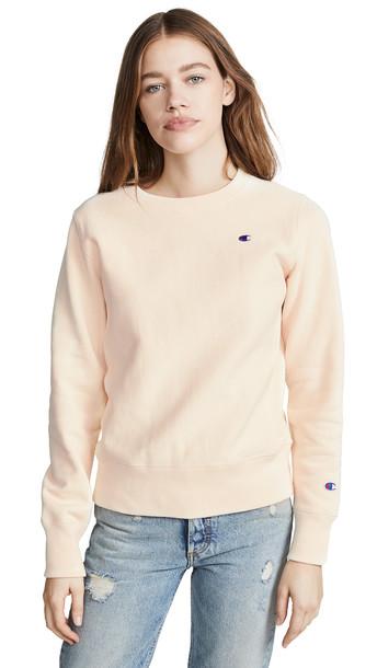 Champion Premium Reverse Weave Crew Neck Sweatshirt in white