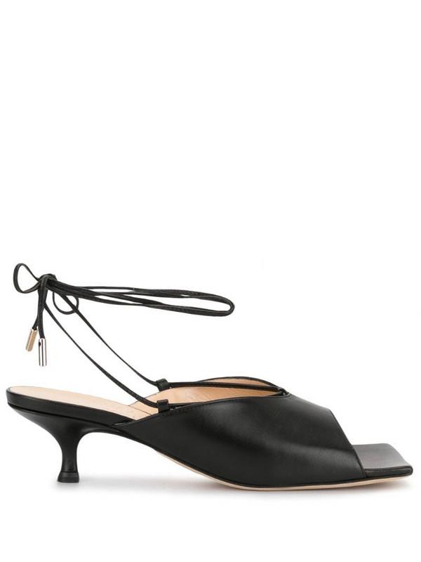 A.W.A.K.E. Mode square toe kitten heel sandals in black