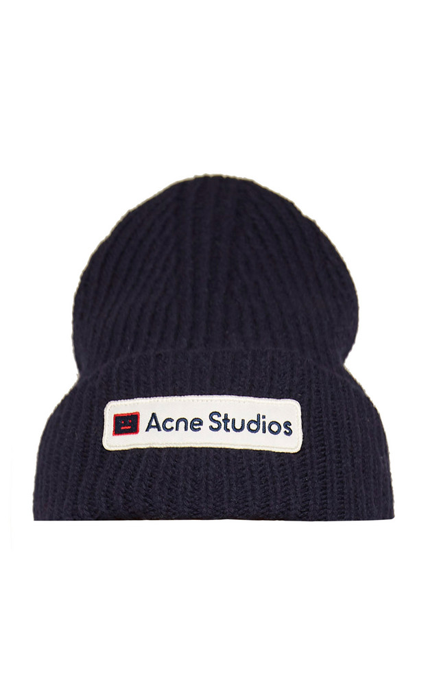 Acne Studios Kansas Logo Wool Beanie in navy
