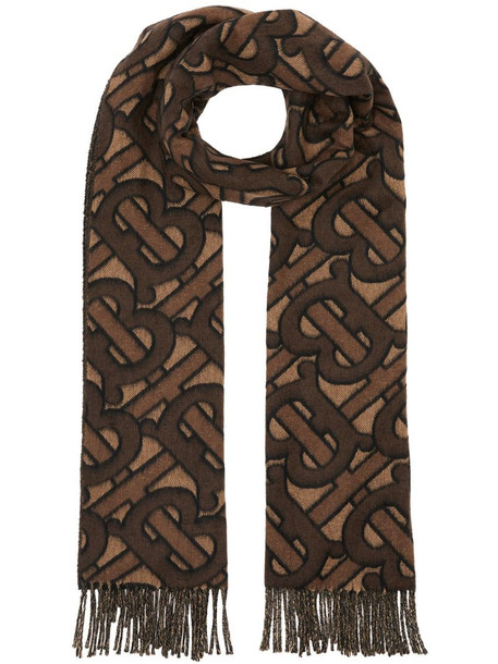 Burberry Monogram Cashmere Jacquard Scarf in brown
