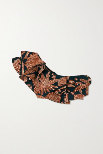 JOHANNA ORTIZ - + Net Sustain Mura One-shoulder Ruffled Printed Recycled Bikini Top - Red