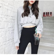 sweater,girly,girl,girly wishlist,grey,grey sweater,cropped,crop tops,cropped sweater,crop,it girl shop,itgirl clothing,itgirl shop,itgirlclothing,itgirlshop,it-girl,itgirl