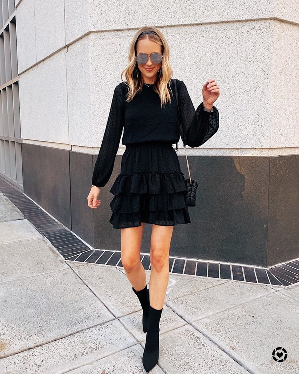 dress black dress ruffle dress ankle boots black boots black bag