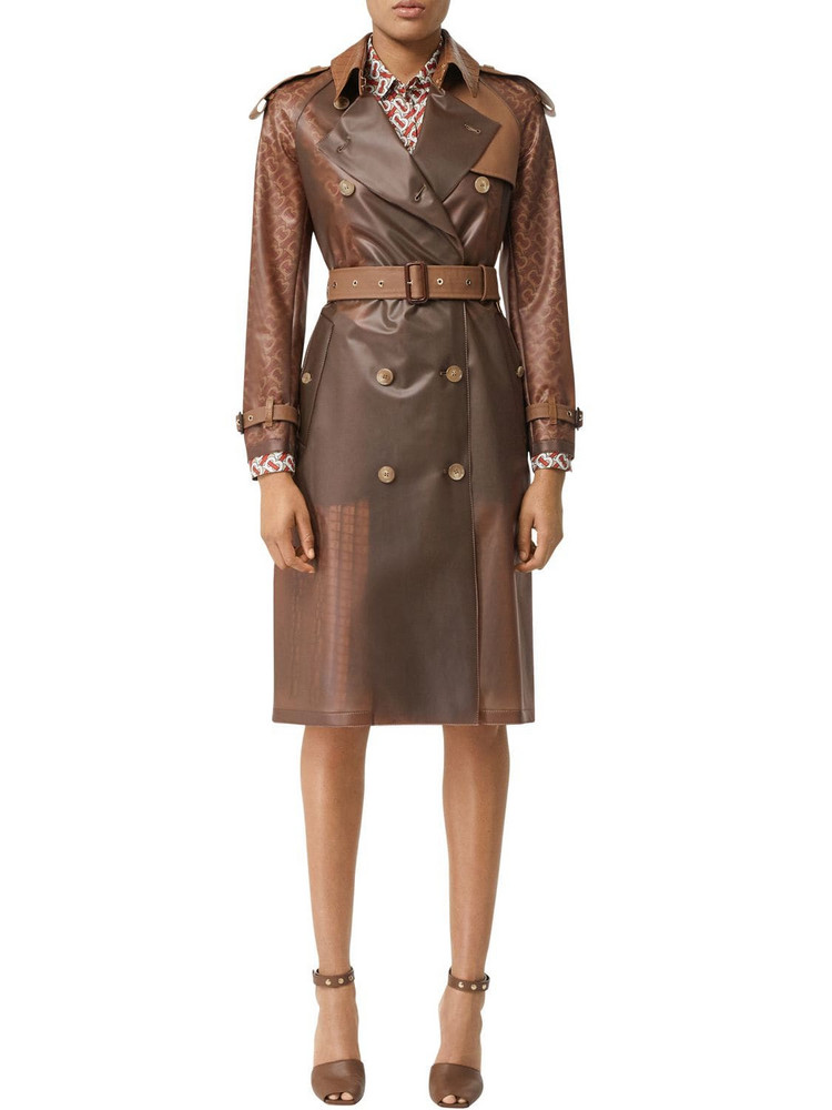 BURBERRY Rubber & Croc Printed Trench Coat in brown