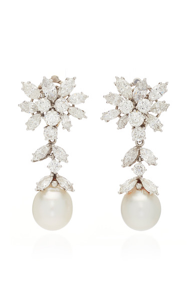 Simon Teakle Cultured Pearl & Diamond Earrings in white