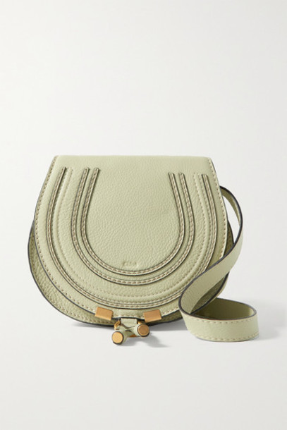 Chloé Chloé - Marcie Mini Textured-leather Shoulder Bag - Gray green