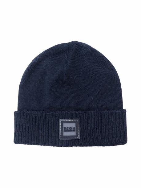 BOSS Kidswear logo-patch beanie - Blue