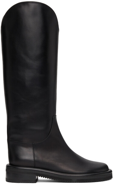 Proenza Schouler Black Leather Pipe Riding Boots