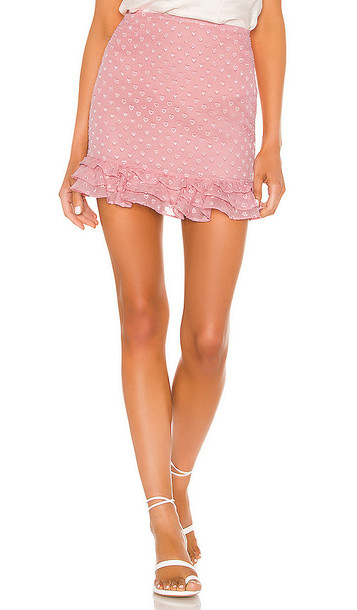 Privacy Please Rose Mini Skirt in Pink
