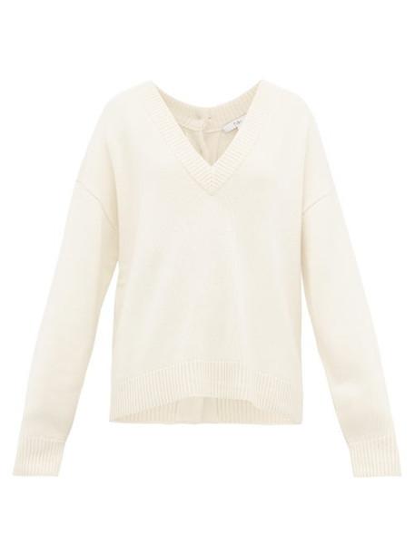 Tibi - Buttoned V Neck Cashmere Sweater - Womens - Ivory