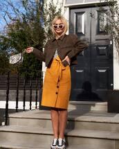 skirt,midi skirt,high waisted skirt,sneakers,adidas,denim jacket,striped top
