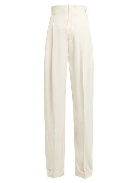 Haider Ackermann - Pleated Front Twill Trousers - Womens - Cream Multi