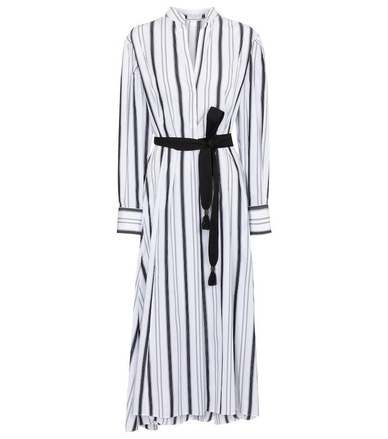 Brunello Cucinelli Belted striped cotton dress in white