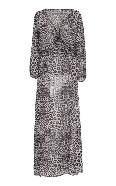 Marie France Van Damme Embellished Silk Chiffon Maxi Dress in print