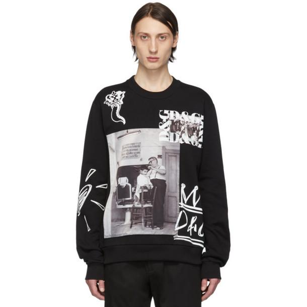 Dolce and Gabbana Dolce & Gabbana Black Printed Patches Sweatshirt