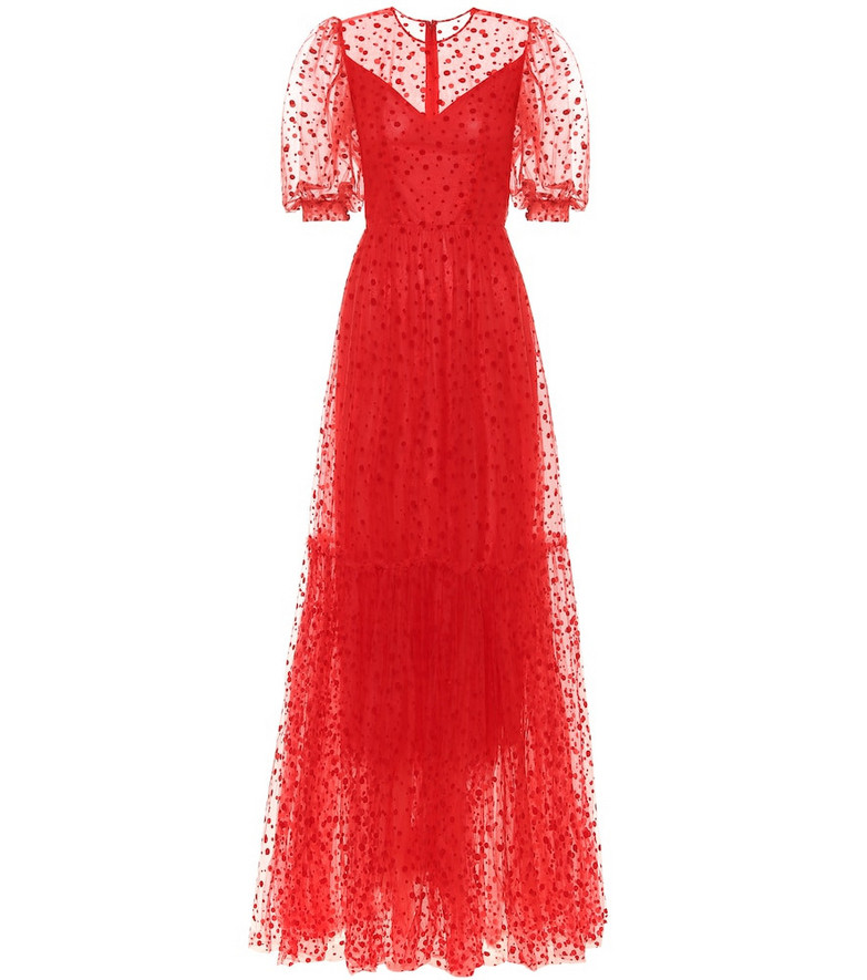 Costarellos Flocked tulle gown in red