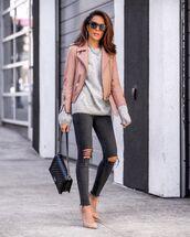 jeans,black jeans,ripped jeans,pumps,sweater,black bag