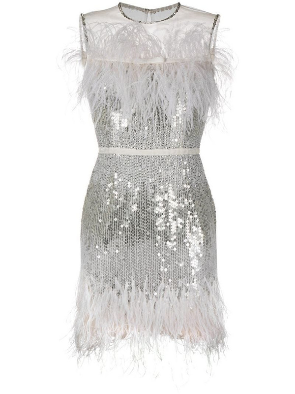 Jenny Packham feather-embellsihed sequinned dress in neutrals
