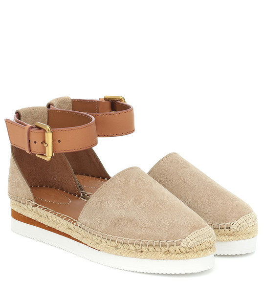 See By Chloé Suede and leather espadrilles in beige