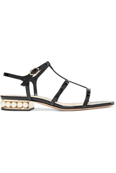 Nicholas Kirkwood - Casati Embellished Patent-leather Sandals - Black
