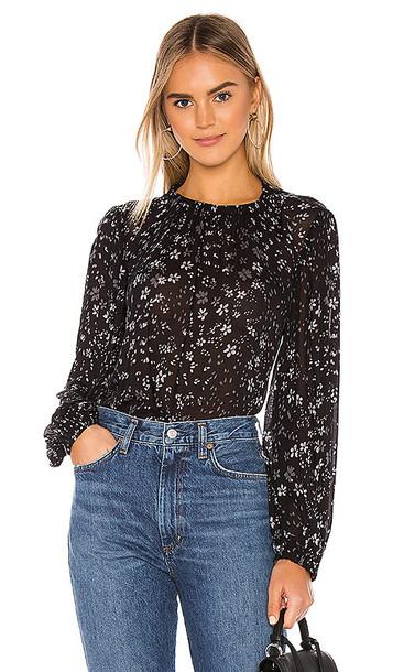 Bella Dahl Elastic Shirred Top in Black