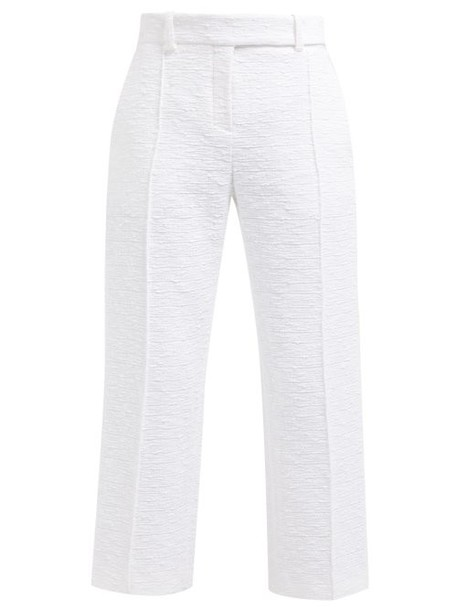 Alexandre Vauthier - Straight Leg Cropped Cotton Tweed Trousers - Womens - White