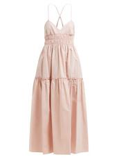 dress,midi dress,midi,cotton,pink