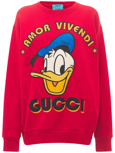 GUCCI Cotton Jersey Sweatshirt W/ Donald Print in red