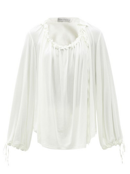 Palmer/harding Palmer//harding - First Moment Ruched Jersey Blouse - Womens - Ivory