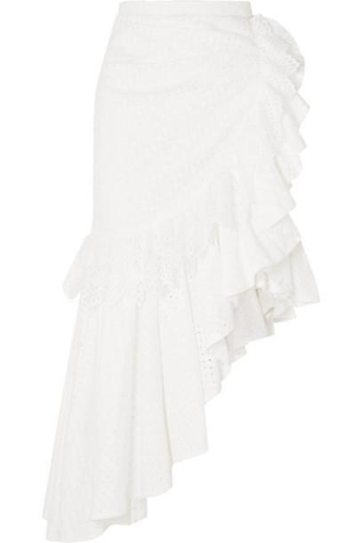 Rodarte - Asymmetric Ruffled Broderie Anglaise Cotton Midi Skirt - White