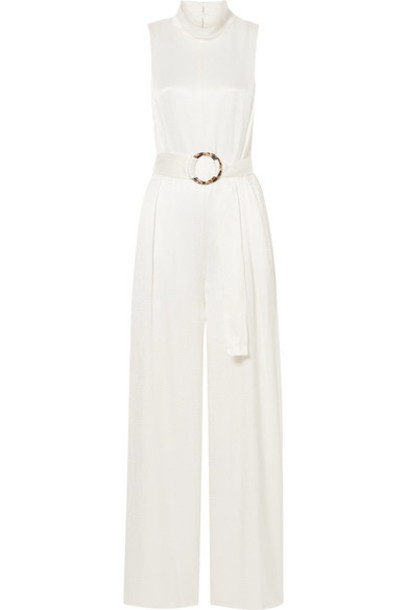 Sally LaPointe - Belted Crinkled-satin Jumpsuit - White