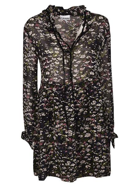 Ganni Floral Dress in nero