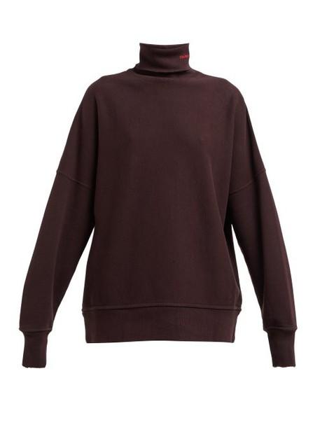 Calvin Klein 205w39nyc - Distressed Trim Cotton Jersey Roll Neck Sweatshirt - Womens - Brown