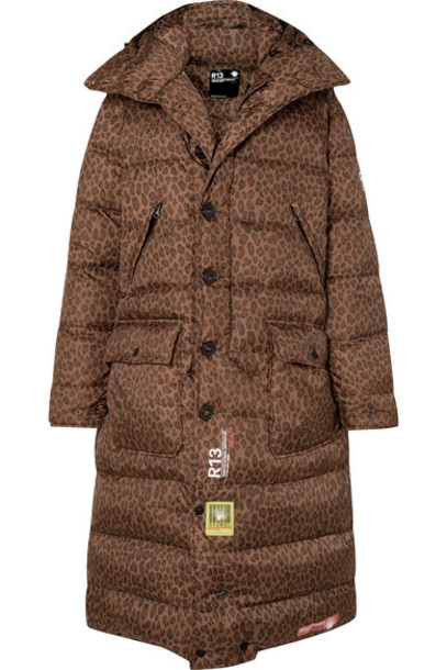 Brumal - r13 Hooded Quilted Leopard-print Shell Down Coat - Brown