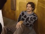 sweater,grey,black,black sweater,pedro pascal,grey sweater,menswear,mens shirt,polka dots
